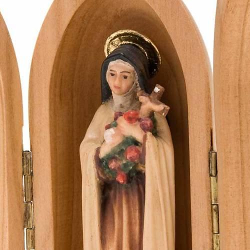 Statue Sainte Thérèse de Lisieux dans niche bois s2