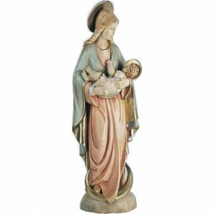 Statue Vierge à l'Enfant en bois peint s1