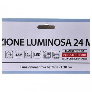 Stella luminosa 24 micro LED bianco freddo INTERNO batteria s4