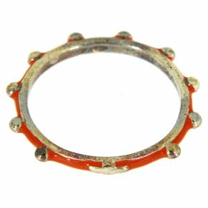 Prayer rings: Sterling silver rosary ring with orange enamel, MATER