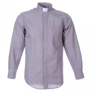 Camisas Clergyman: STOCK Camisa manga larga Fil a Fil gris claro