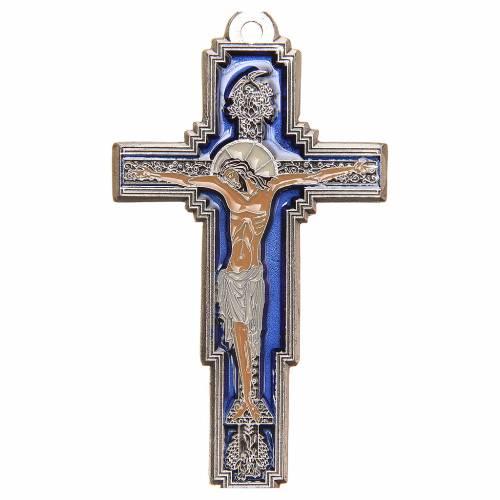 STOCK Croix Arbre Vie métal 9 cm émail bleu calice gravé s1