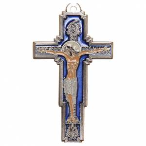 STOCK Cross Tree of Life in metal, blue enamel chalice engraved 9cm s1