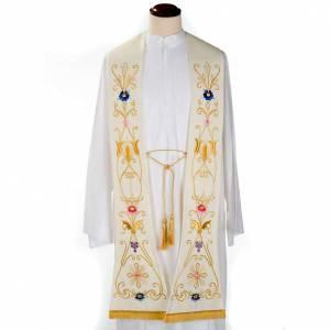 Priesterstolen: Stola farbige Stickerei antiker Stil reine Wolle