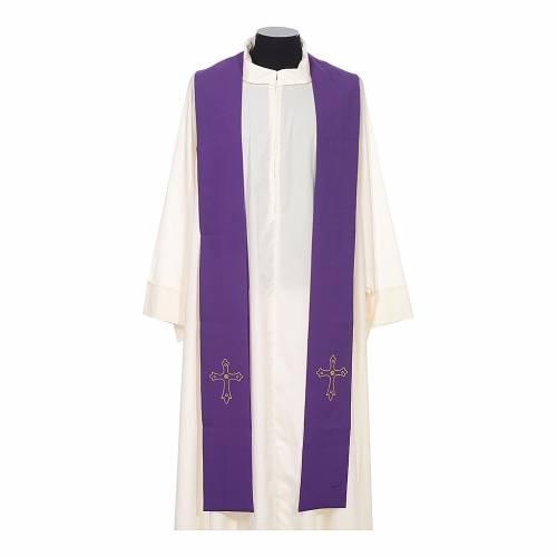 Stola sacerdotale ricamo semplice su due lati tessuto Vatican s6