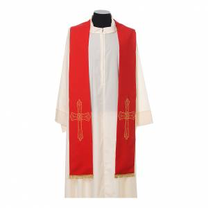 Stola sacerdote ricamo dorato croce su due lati 100% poliestere s3