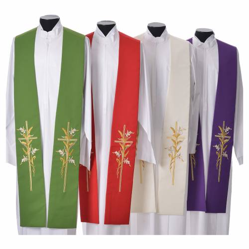 Stole in 100% polyester, stylised cross and ears of wheat s1