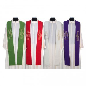 Stoles: Stole in 100% polyester with cross and candles