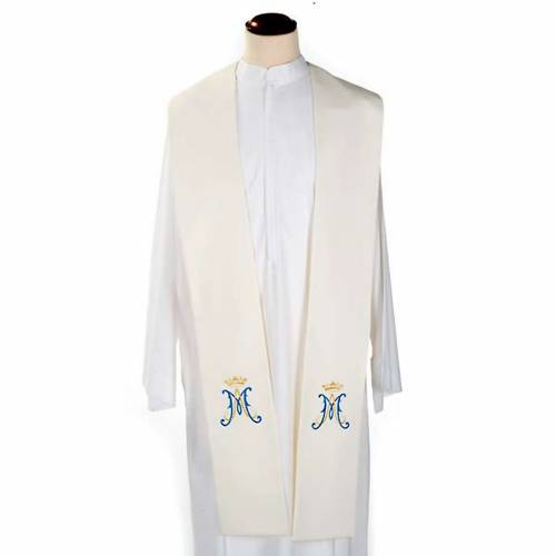 Stole, white with blue Marian symbol s1
