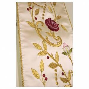Stole: Stolone ricamato a mano con decori colore oro piante fiori seta