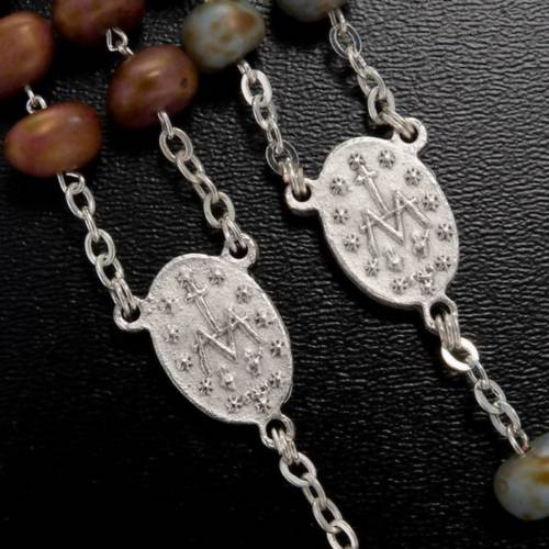 Stone-like rosary beads, silver metal, 9mm s5