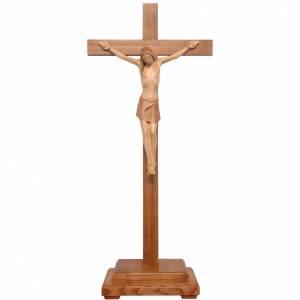 Stylised crucifix with base in Valgardena wood, multi-patinated s1