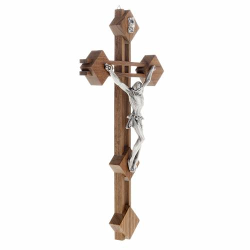 Stylised crucifix with walnut wood squares and silver body s3