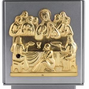 Tabernacle d'autel en fer argenté Dernière Cène bronze s2
