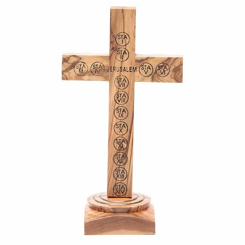 Table Crucifix olive wood Holy Land earth & seeds 19cm s3