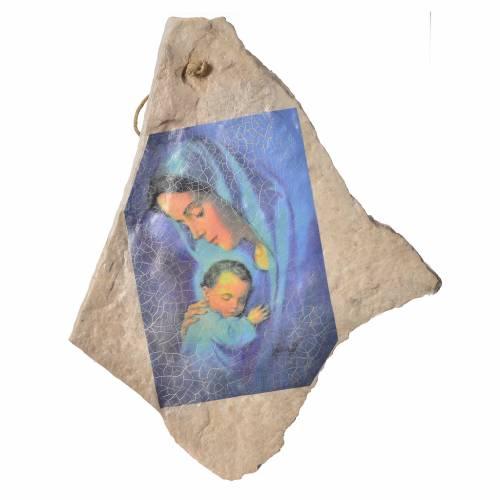Tableau Vierge à l'enfant sur pierre de Mejugorje 33x19cm s1