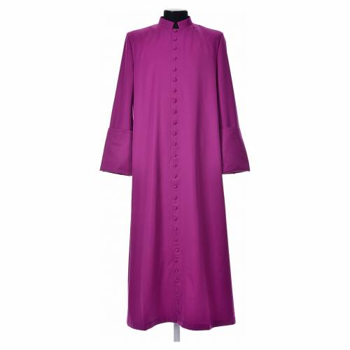 Talare in lana color paonazzo con bottoni ricoperti s1