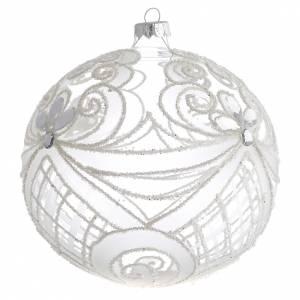 Tannenbaumkugeln: Tannenbaumkugel Glas weisse Dekorationen 150mm