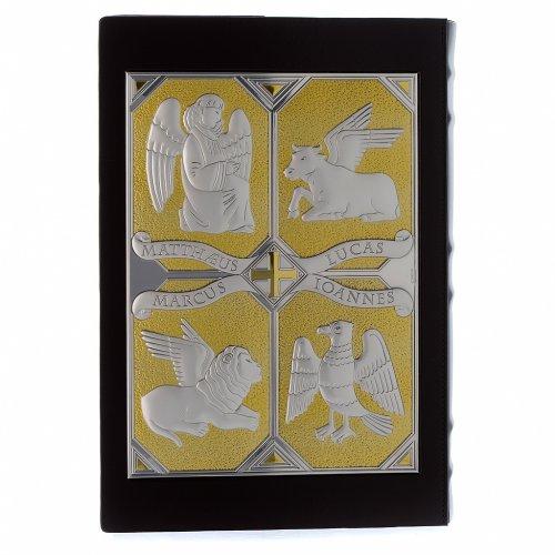 Tapa evangeliario Cristo y los 4 evangelistas plata y oro s2