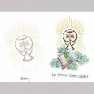 Tarjetas de felicitación Religiosas.: Tarjeta de felicitación primera comunión lirio cáliz libro