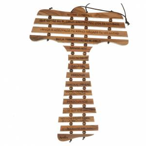 Tau cross in olive wood with prayer in SPANISH s1