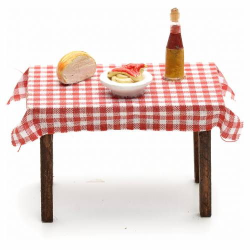 Tavolo imbandito 5,5x7x5 cm presepe napoletano s1