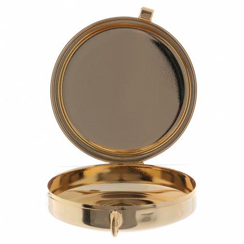 Teca porta Ostie Sacra Famiglia metallo disco legno olivo inciso diam. 5,5 cm s2