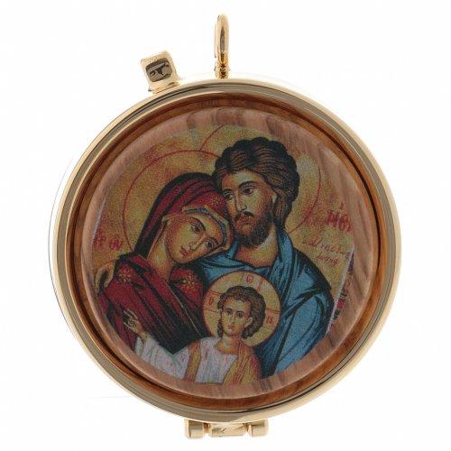 Teca porta Ostie Sacra Famiglia metallo disco legno olivo inciso diam. 5,5 cm s1