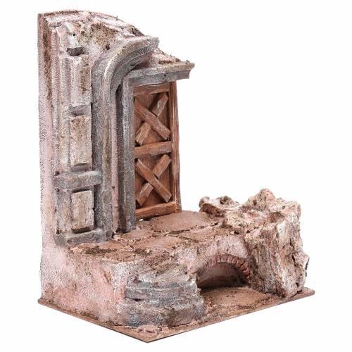 Tempio porta legno 25x20x15 cm per presepe s3