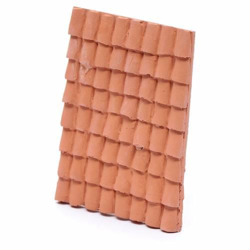 Tetto con coppi 10x5 cm resina color terracotta presepe s2