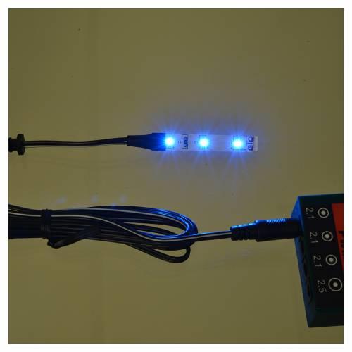 Tira de 3 LED cm. 0.8x4 cm. azul Frisalight s2