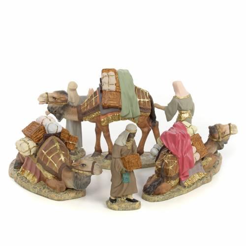Tre Re Magi a cammello 12 cm pasta di legno dec. fine s1