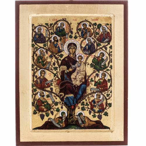 Tree of Jesse icon, Greece, silkscreen printing 31x24cm s1