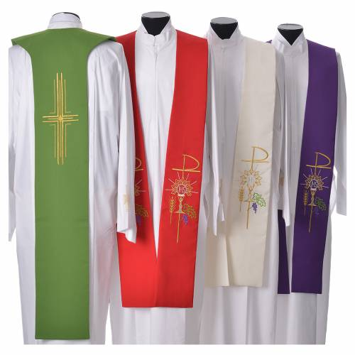 Tristole in polyester with chalice, host, grapes and Chi-rho sym s2