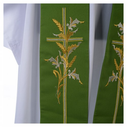 Tristole in polyester with cross and ears of wheat symbols s2