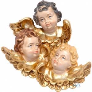 Angeli: Trittico testine d'angelo legno dipinto Valgardena