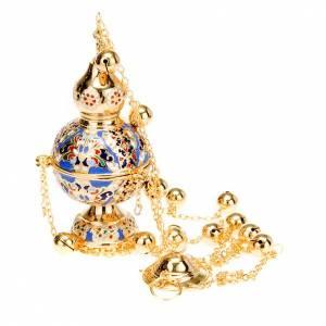 Turiboli e navette: Turibolo stile ortodosso dorato smaltato