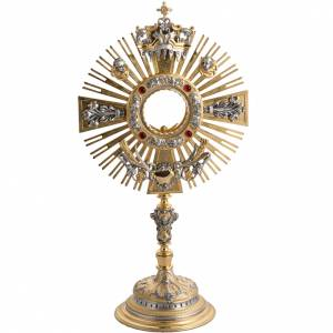Two tone monstrance with putti and red stones s1