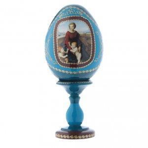 Uovo russo blu in legno La Madonna del Belvedere découpage h tot 16 cm s1