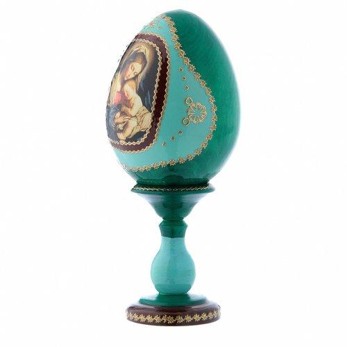 Uovo russo verde in legno decorato a mano Madonna col Bambino h tot 16 cm s2