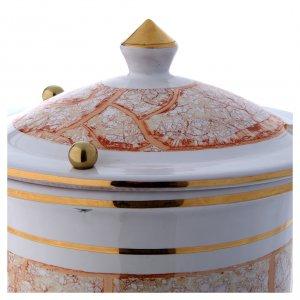 Urna cineraria ceramica con pomelli bianco oro s3