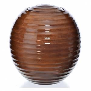 Urne funéraire porcelaine peinte main effet bois s1