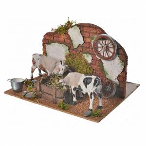 Vaches au mangeoire 10 cm crèche napolitaine s3