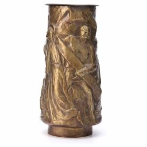 Vase fleur cimetière laiton bronzé avec bac s2