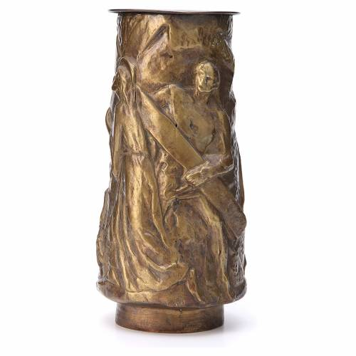 Vaso fiori cimitero ottone bronzato con vaschetta s2