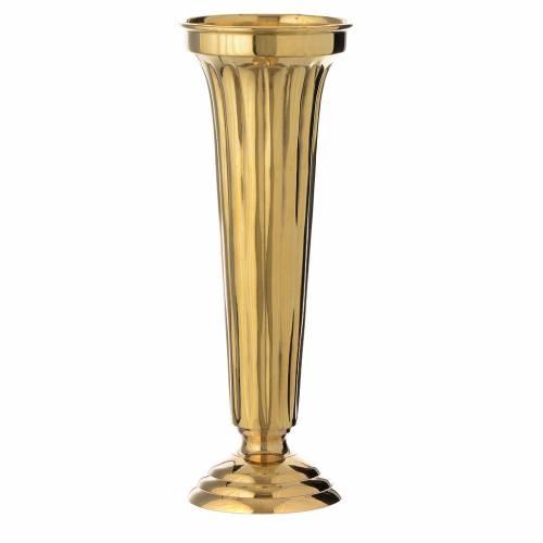Vaso per fiori ottone cesellato a mano h 30 cm s1