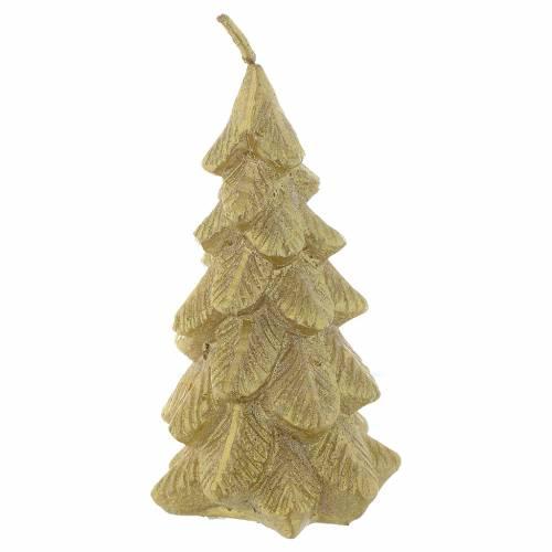 Vela Árbol de Navidad dorada 11 cm s1