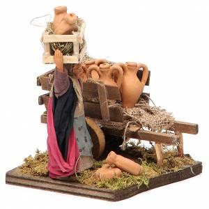 Vendeuse de jarres avec charrette 10 cm crèche Naples s4