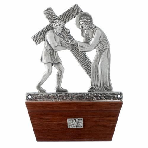 Vía Crucis 15 estaciones base de madera bronce plateado s5