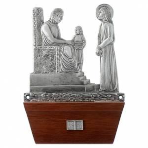 Vía Crucis: Vía Crucis 15 estaciones base de madera bronce plateado